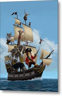 Cartoon Animal Pirate Ship Metal Print by Martin Davey