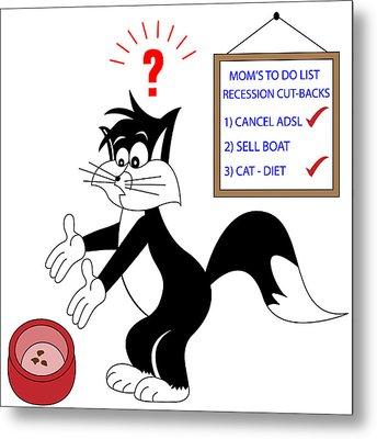 Cartoon Cat On Diet Metal Print