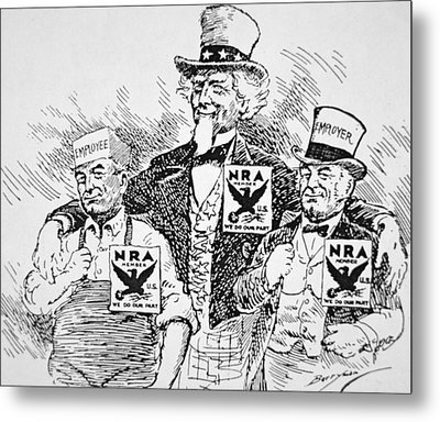 Cartoon Depicting The Impact Of Franklin D Roosevelt  Metal Print by American School