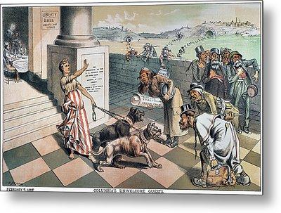 Cartoon Immigration, 1885 Metal Print by Granger