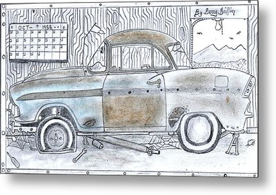 Cartoon Rustic Car  Metal Print by Gerald Griffin