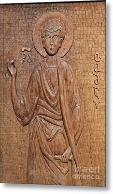 Carved Wooden Door At The Tsminda Sameba Cathedral Tbilisi Metal Print