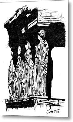 Caryatids In High Contrast Metal Print