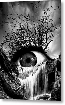 Cascade Crying Eye Grayscale Metal Print by Marian Voicu