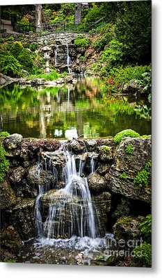 Cascading Waterfall And Pond Metal Print by Elena Elisseeva
