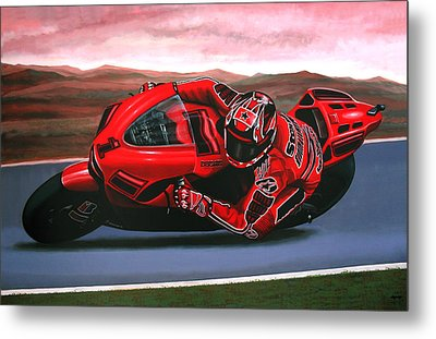 Casey Stoner On Ducati Metal Print