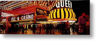 Casino Lit Up At Night, Four Queens Metal Print by Panoramic Images