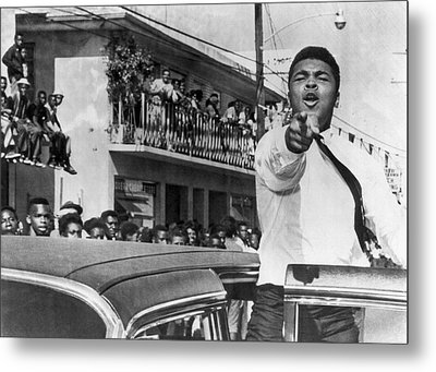 Cassius Clay In Football Parade Metal Print