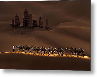 Castle And Camels Metal Print