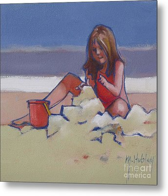 Castle Buiilding Sandcastles On The Beach Metal Print by Mary Hubley