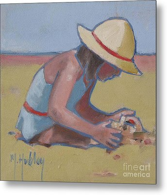 Castle Builder Beach Sand Castle Metal Print by Mary Hubley
