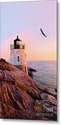 Castle Hill Lighthouse 2 Newport Metal Print by Marianne Campolongo