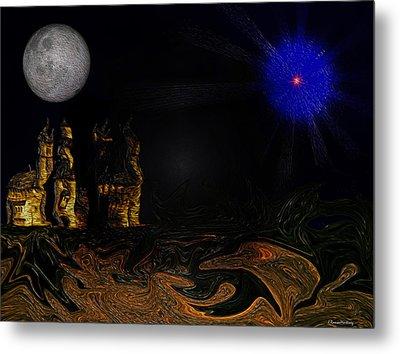 Castle In The Night Metal Print by Ramon Martinez