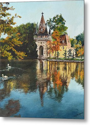 Metal Print featuring the painting Castle On The Water by Mary Ellen Anderson