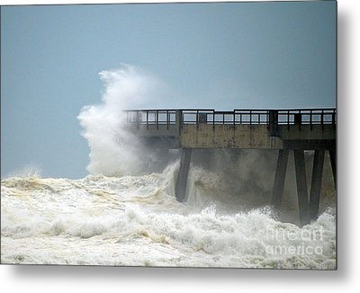 0828 Cat 1 Hurricane Isaac Crashes Into Navarre Beach Pier Metal Print by Jeff at JSJ Photography