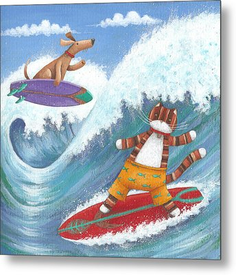 Cat And Dog Surfing Metal Print by Peter Adderley