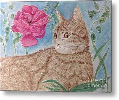 Cat And Flower Metal Print by Cybele Chaves