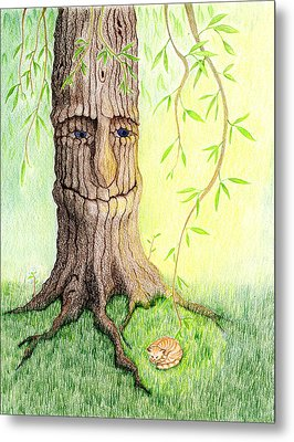 Cat And Great Mother Tree Metal Print