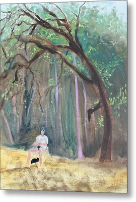Cat And Reading Man Under A Bay Tree Metal Print by Asha Carolyn Young
