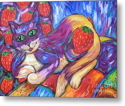 Metal Print featuring the painting Cat And Strawberries by Dianne  Connolly