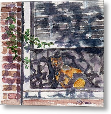 Cat Behind The Screen Metal Print