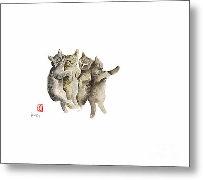 Cat Cats Photo Picture Brown Gray Little Funny Pic Meow Watercolor Painting Metal Print by Johana Szmerdt