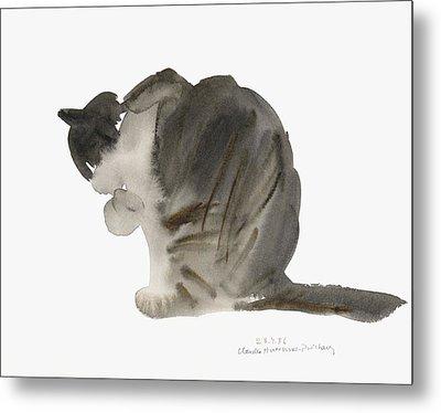 Cat Metal Print by Claudia Hutchins-Puechavy