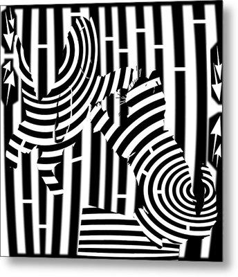 Cat Fight Maze Metal Print by Yonatan Frimer Maze Artist