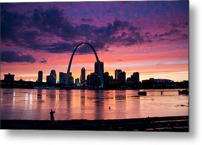 Cat Fishing Across From The Arch Metal Print by Garry McMichael
