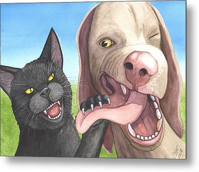 Cat Got Your Tongue Metal Print by Catherine G McElroy