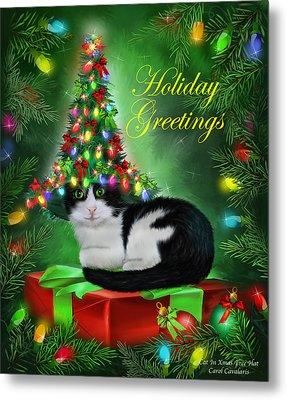 Cat In Christmas Tree Hat Metal Print by Carol Cavalaris
