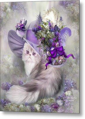 Cat In Easter Lilac Hat Metal Print