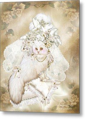 Cat In Fancy Bridal Hat Metal Print by Carol Cavalaris