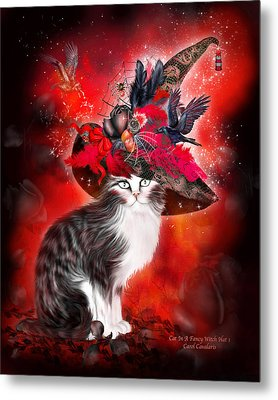 Cat In Fancy Witch Hat 1 Metal Print