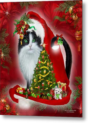 Cat In Long Santa Hat Metal Print by Carol Cavalaris