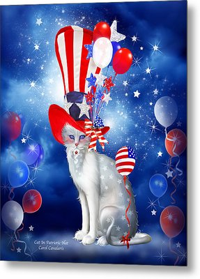 Cat In Patriotic Hat Metal Print
