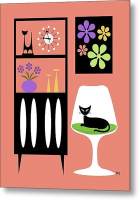 Cat In Pink Room Metal Print by Donna Mibus