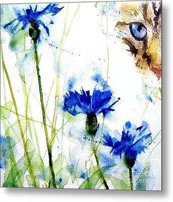 Cat In The Cornflowers Metal Print by Paul Lovering