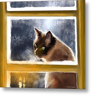 Cat In The Window Metal Print