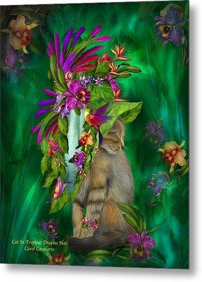 Cat In Tropical Dreams Hat Metal Print by Carol Cavalaris