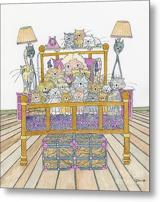 Cat Lady - In Bed Metal Print by Mag Pringle Gire