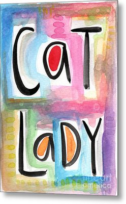 Cat Lady Metal Print by Linda Woods