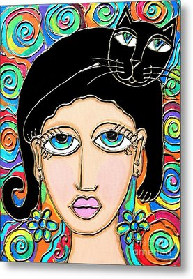 Cat Lady With Black Hair Metal Print by Cynthia Snyder