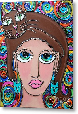 Cat Lady With Brown Hair Metal Print by Cynthia Snyder