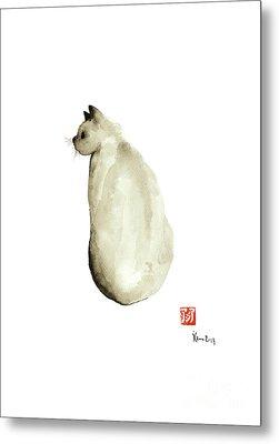 Cat Little Kittlen Syjamese White Cappuccino Black Grey Brown Meow Metal Print by Johana Szmerdt