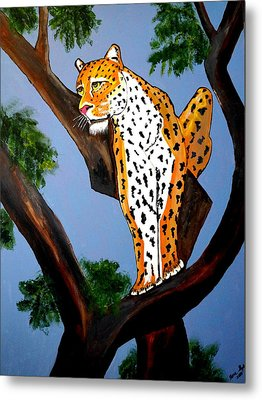 Cat On A Hot Wood Tree Metal Print by Nora Shepley