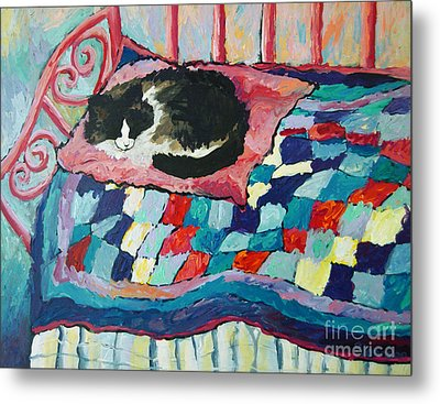 Cat On Pink  Metal Print by Peggy Johnson