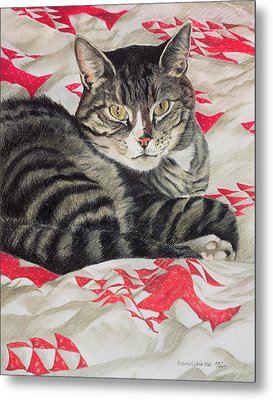 Cat On Quilt  Metal Print