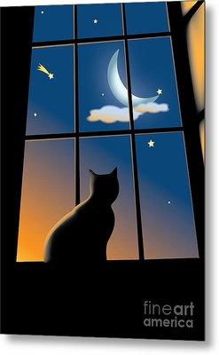 Cat On The Window Metal Print by Aleksey Tugolukov
