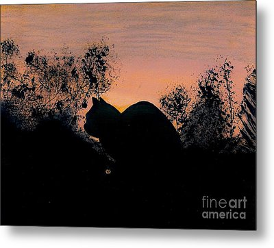 Metal Print featuring the drawing Cat - Orange - Silhouette by D Hackett